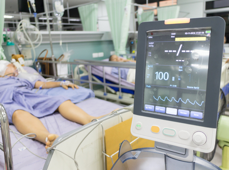 blood pressure unit: EKG machine Blood pressure heart,Emergency patients in Hospital ,blur