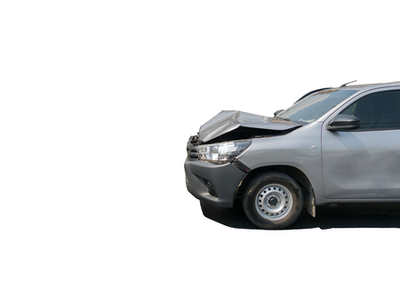 Car crash from car accident on the road in a city car pickup wait insurance