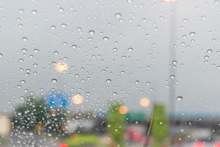 Rain with car glass