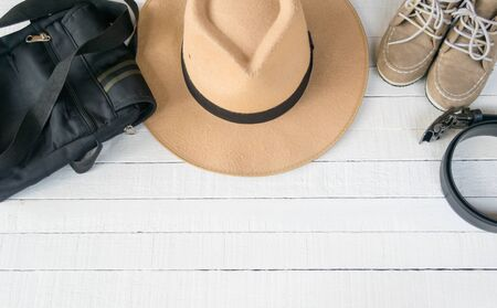 Dress Accessories women Jeans and hats sunglasses shoes on a white background. Stock Photo