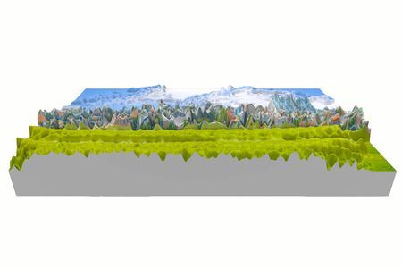 3D green lawn building tree and sky blurred white background