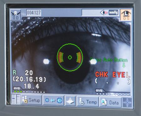 Eye examination Measurement of Eye scan pressure Stock Photo