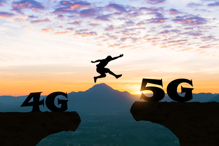 Technology 4G to 5G Men jump over silhouette