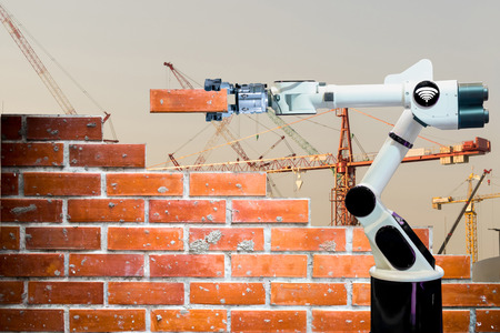 Smart robot industry 4.0 arm brick building construction human force remote wifi