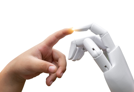 Robotic artificial intelligence future transition child human hand finger hit robot hand press or white background