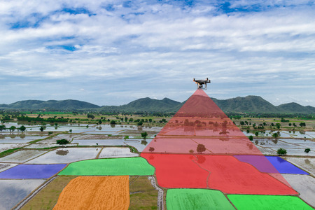 Farmer control unmanned aircraft Dorn Infrared agricultural automation, digital farming Stock Photo