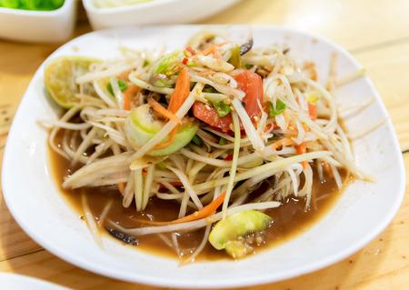 Thai food papaya salad with crab salad