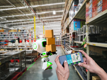 Smart robotic wifi control technology holding industry the box or robots working instead of humans Stock Photo