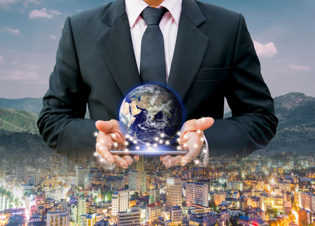 Technology city Network communication network system business Earth on hand world