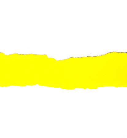Abstract background Torn white paper On yellow paper Banco de Imagens