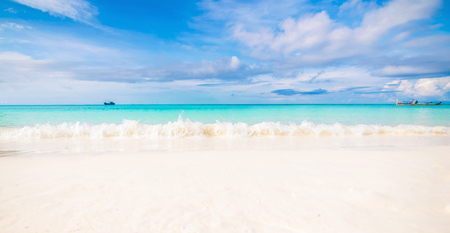 Sea and clear water beach have a holiday summer relaxing and travel bright sky koh lipe thailand Banco de Imagens - 124531707