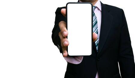 Businessman using holding smartphones white screen showing information on white background Reklamní fotografie