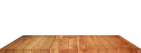 Empty brown wood floor object on a white background Banco de Imagens - 124532578