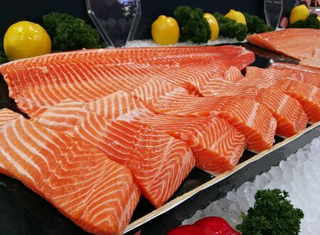 Sashimi salmon raw with fish fillets fresh