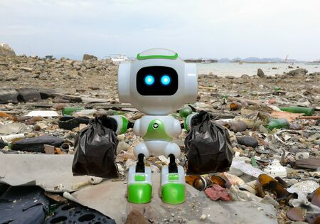 Robot technology to collect black garbage bag instead of humans Banco de Imagens