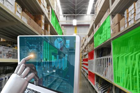 Technology robot finger touch screen computer Industrial system check