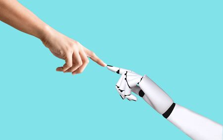 Human hand and robot hand system concept integration and coordination of artificial intelligence technology Banco de Imagens