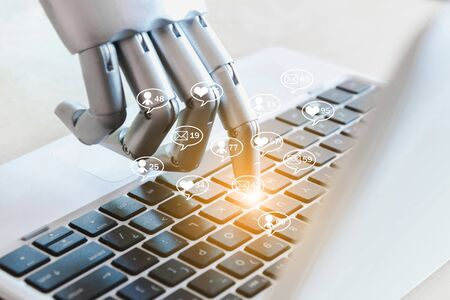Robot hands and fingers point social media online business Message, likes, followers and comment on internet Banco de Imagens
