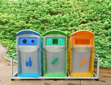 Bin separation of plastic waste, bottles and wet waste Banco de Imagens