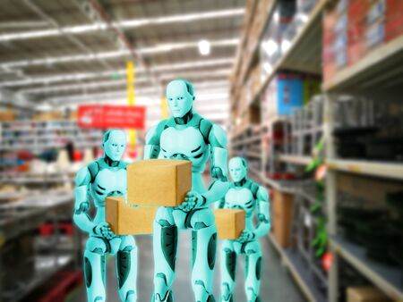 Intelligent robot technology holds box works instead of humans in the warehouse. Banco de Imagens
