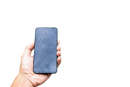 Smartphone screen cracked the broken screen on the white background Stock fotó