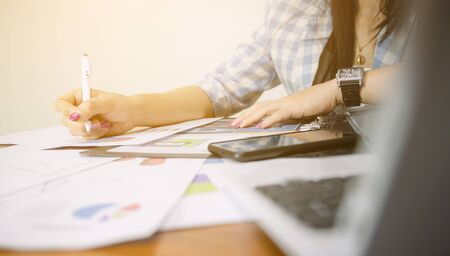 Women working on business graph analysis on the desk Stock fotó