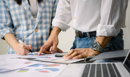 Working business team graph analysis on the desk Stock fotó