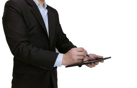 Businessman holding a tablet on white background