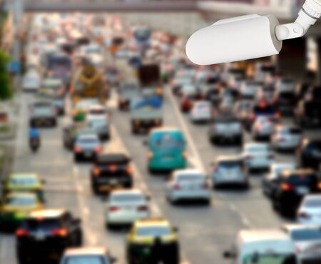 CCTV recording cars on the road of traffic Imagens