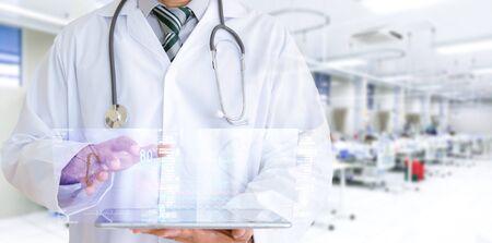 Medische technologie, onderzoek en behandeling en analyse van de ziekte via internet