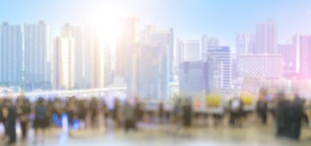 The people in city background and tall buildings Blurred images Stock Photo