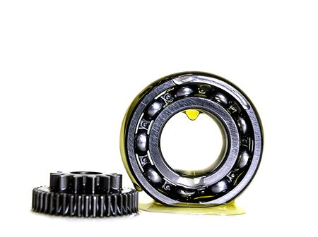 Gear and bearing industry in lubricant oiling a white background
