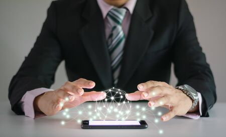 Business people use communication technology internet and connect network