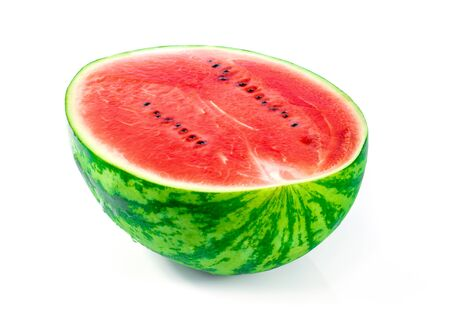 Fruit watermelon cut in half on the white ground