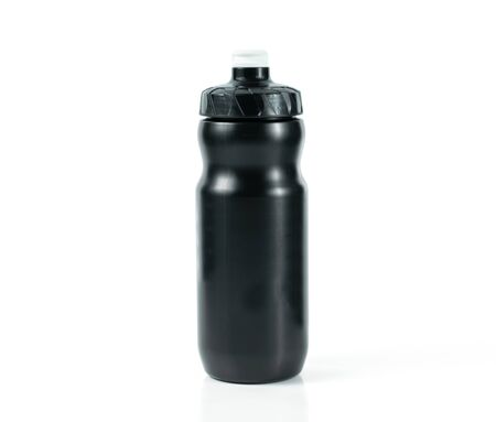 Black plastic water bottle On a white background
