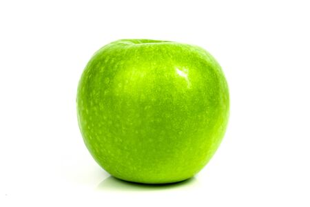 Fresh green apple fruit on a white background