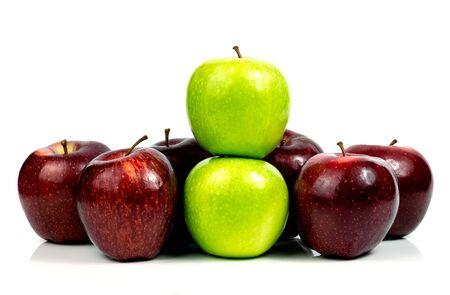 Fresh apple green and red fruit on a white background Reklamní fotografie