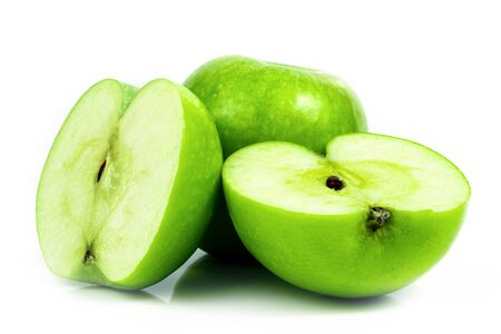 Fresh green apple fruit on a white background