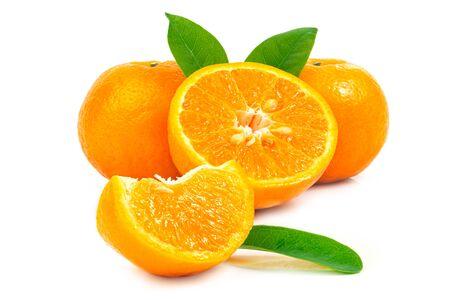 Fresh fruit orange with leaves on a white background