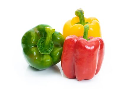 Large bell pepper red, green and yellow on a white background Reklamní fotografie