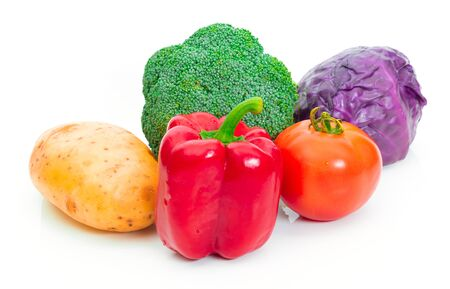 Broccoli tomato potato Red cabbage and Bell pepper On a white background Reklamní fotografie - 147064484