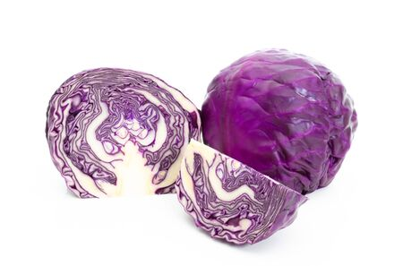 Red cabbage on a white background