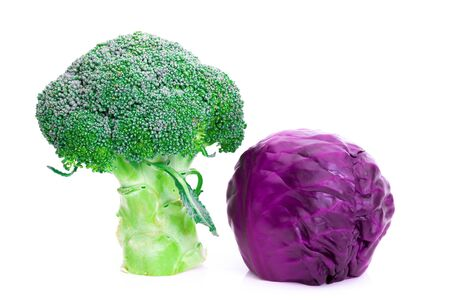 Broccoli and Red cabbage on a white background