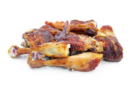 Grilled chicken food on a white background   Reklamní fotografie