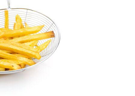 Potato french fries on a white background and free space