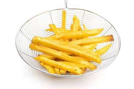 Potato french fries on a white background