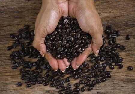Roasted coffee beans closeup