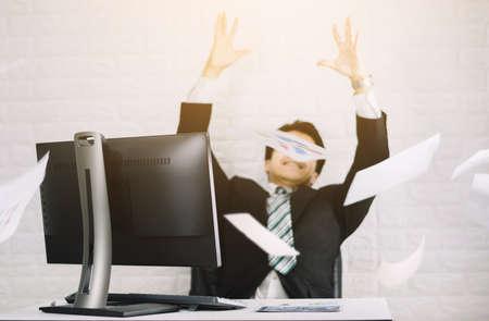 Happy business men throw documents Successful job