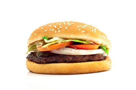 Hamburger meat and vegetables on wooden background Foto de archivo - 150962873