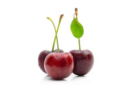 Cherry fruit on a white background Foto de archivo